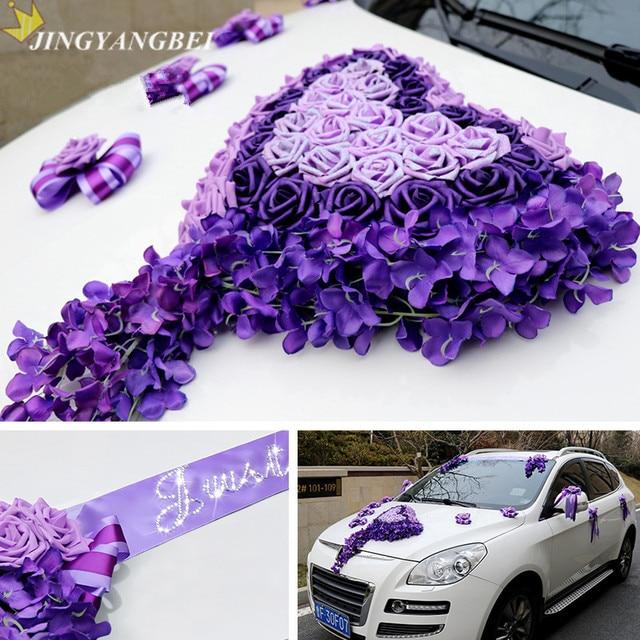 Purple Pink Heart Just Wedding PE Rose Silk Vine Ribbon Bowknot Car Flower