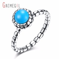 GNIMEGIL Real 925 Sterling Silver Round Shape Ring Blue Bohemia Style Fine Female Rings Brand Jewelry