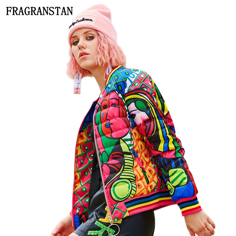 Women Winter New Stand Collar Down Jacket Fashion Abstract Print High Quality Parkas Female Casual Slim