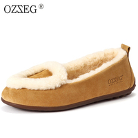 Valentine Elegant Luxury Designer Brand Genuine Leather Winter Female Warm With Real Wool Fur Moccasins Flat Shoes Women Loafers