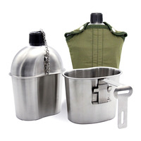 Stainless Steel Army Military Patrol Water Bottle Canteen Green Cover Cup