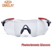 Obaolay Photochromic Cycling Glasses Men Mountain Bike Goggles MTB Bicycle Eyewear Variable Color Sunglasses Ciclismo