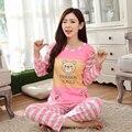 С длинным Рукавом Пижамы Множеств Женщины Пижамы Полиэстер Ночное Пижамы Мультфильм Животных Медведь Топы и Брюки Топы Для Девочки P35