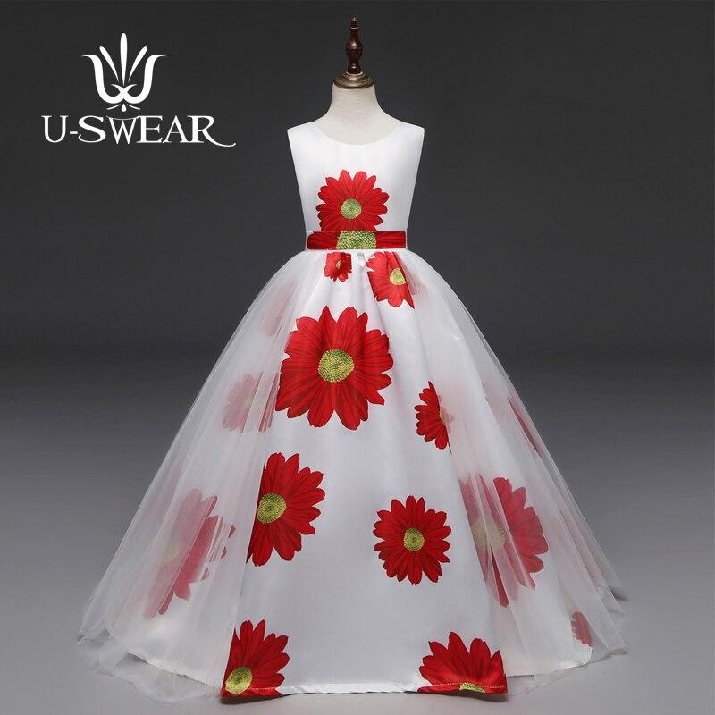 U-SWEAR 2019 nouveauté enfant fleur fille robes tournesol impression ceintures doux maille fleur fille Pageant robes Vestidos
