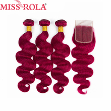 Miss Rola Hair Pre colord Peruvian Body Wave Hair Weaving 3 Bundles With Closure BUG Color