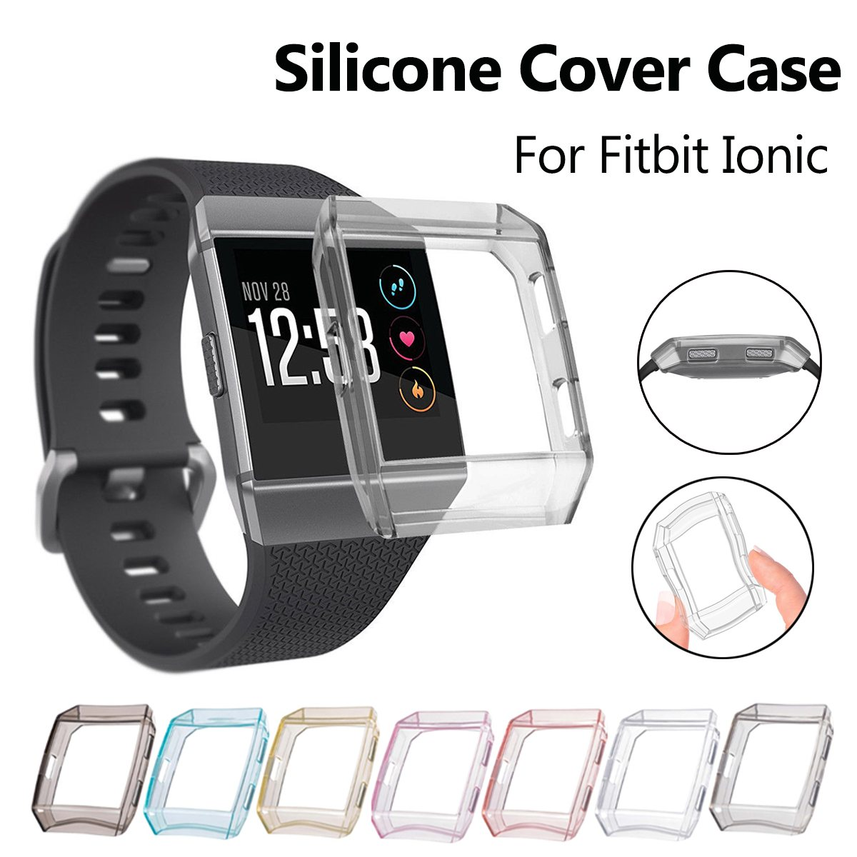 Multi Colors Silicone Frame Skin Cover Case Protective Guard Shell For Fitbit Ionic Smart Watch Band Screen Protector 100pcs a lot wholesale silicone case skin shell protective cover for wii for u gamepad protector full body