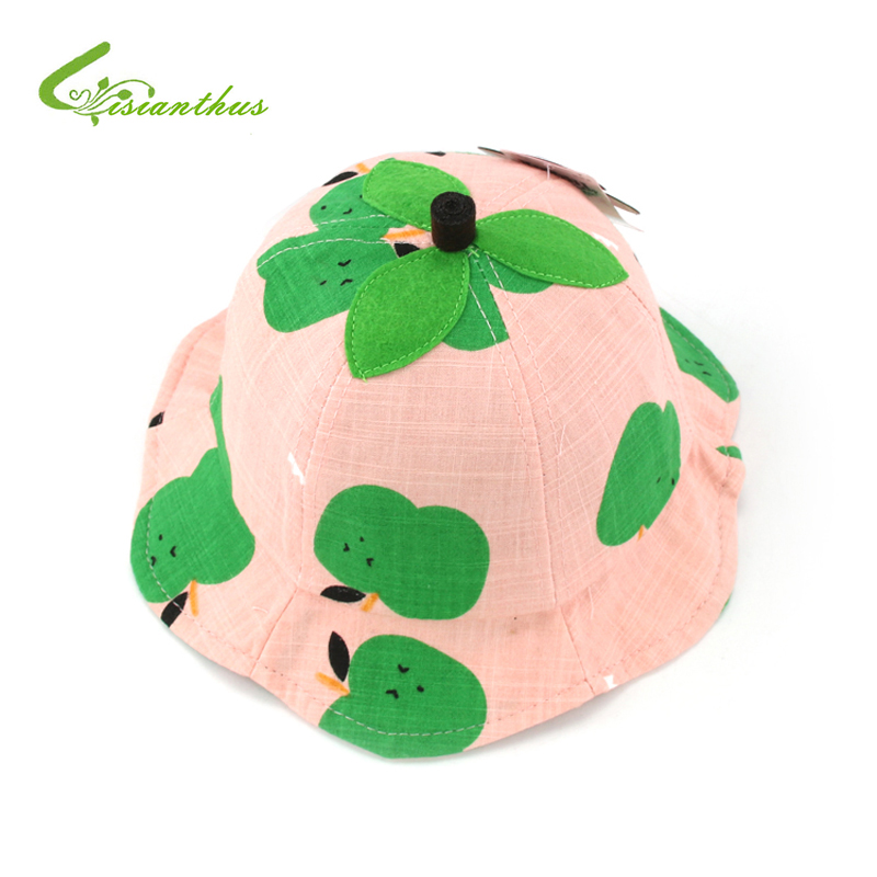 Summer Baby Girls Boys Sun Hat Cotton Breathable Baby Hat Kids Child Cap Cute Fruits Printed Bucket Hat Sun Beach Beanie Cap