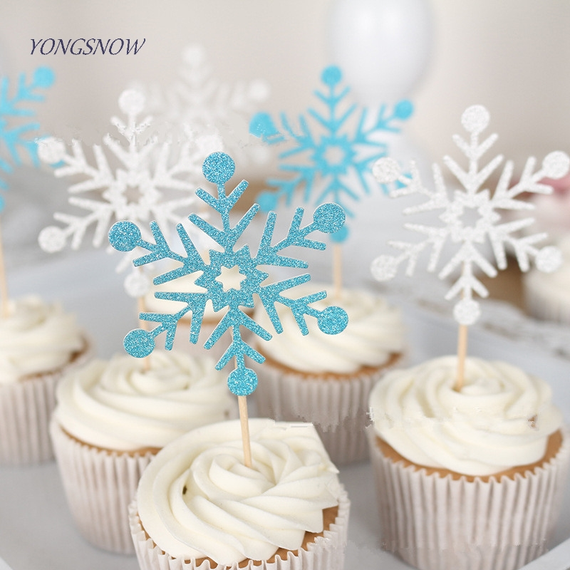 20pcs/lot Cute SnowFlake Cartoon Cupcake Topper Cake Flags For Wedding Birthday Party Baby Shower Decoration Supplies