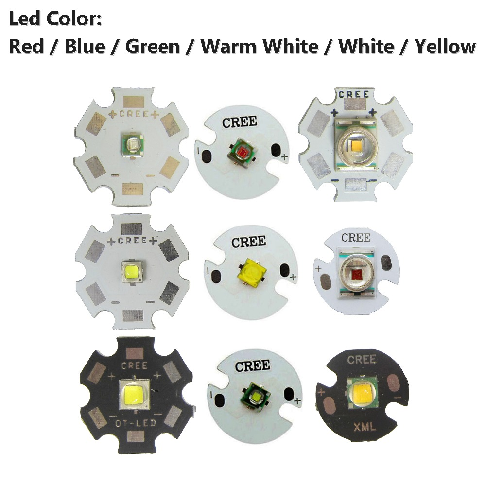 Original CREE ( 10W XML T6 / L2 )( 3W XPE R3 / XRE Q5 )( R5 5W XTE / XPG2 ) Warm Cool White Red Green Blue Yellow LED Chip Base blue oltre r5 jtr5860