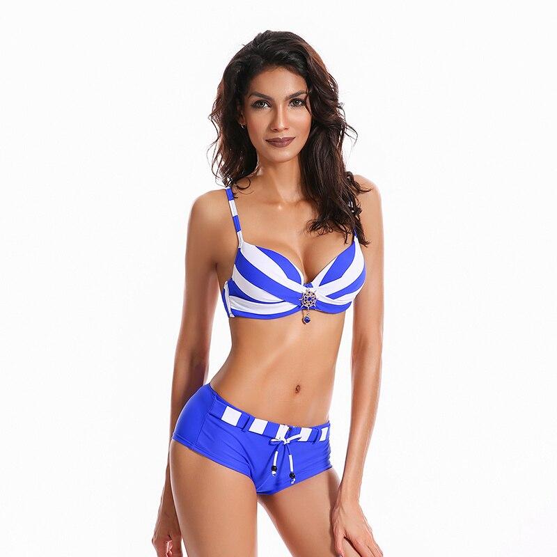 echte Schuhe Shop für authentische neue Sachen US $14.93 40% OFF|2018 sommer Streifen Frauen Bikini Push Up Badeanzug  Bademode Shorts Badeanzug Biquini Beachwear Damen Sexy Bademode Plus  Größe-in ...