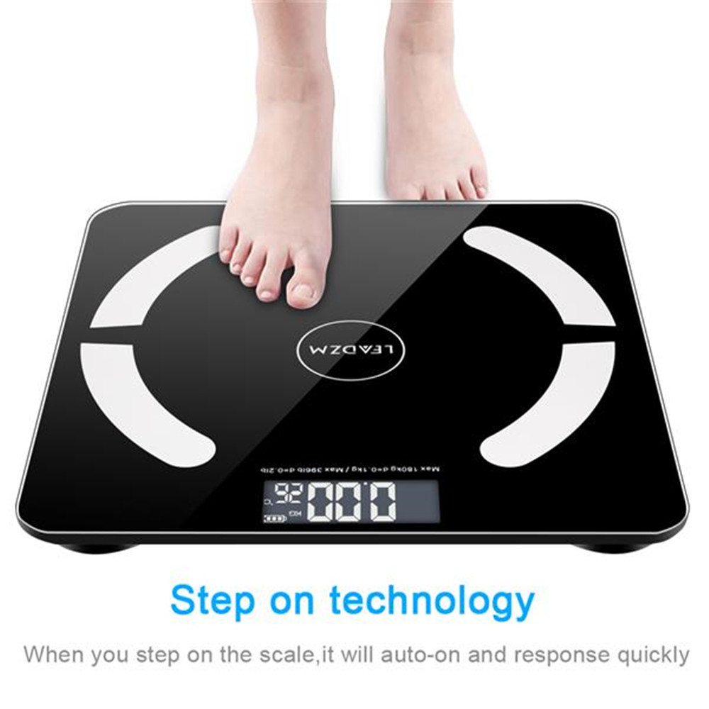 Bluetooth LCD <font><b>Digital</b></font> Smart <font><b>Scale</b></font> Body Weight Fat BMI Bone Analyzer APP +Battery image