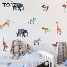 Tofok 24pcs Scandinavian Style Wall Stickers Cartoon Animals Wall Decal Living Room Bedroom Classroom Wall Decor High Quality(China)