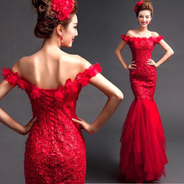 d9e26857d Italian design red mermaid wedding dress 2015 bridal lace off theshoulder bandage  toast Chinese traditional red wedding dress-in Wedding Dresses from ...