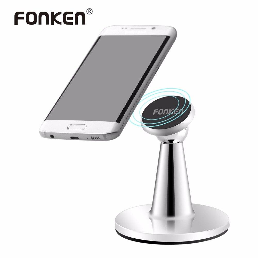 FONKEN Magnétique support de Téléphone Téléphone De Bureau Porte-Aimant 360 Rotation Mobile Téléphone Mount Supports Argent Universel Smartphone Racks