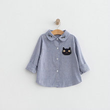 2017 Summer Long Sleeve Girl's Shirts Casual Turn-down Collar Cute Cat Pattern Blouses For Children Kids Clothes