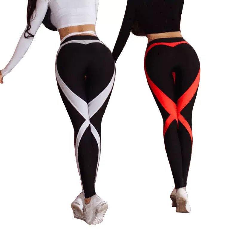 Zogaa Cross-Border European Station Red And White Strip Stitching X Fitness Women Pants Pants Leggings