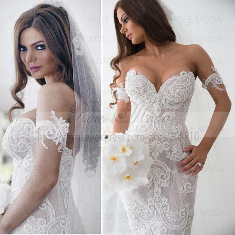 aliexpresscom buy sexy deep sweetheart pearl beaded lace mermaid wedding dress with royal train arabic designer wedding dresses from reliable lace long