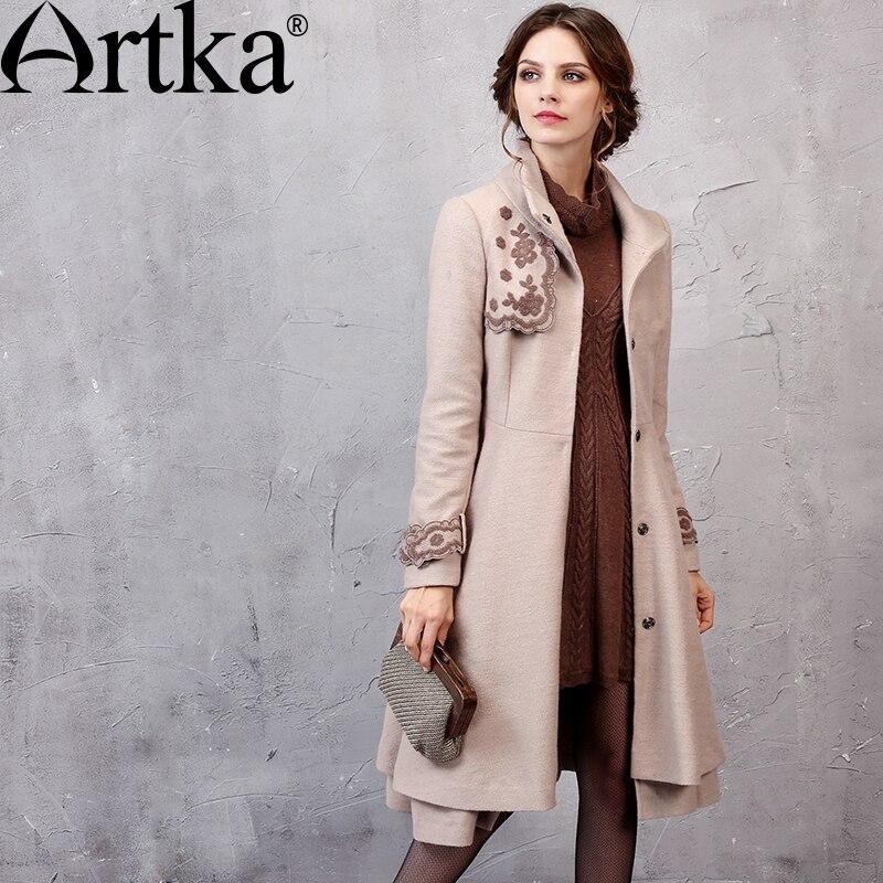 ARTKA Wool Coat Female 2018 Winter Women's Jackets Elegant Women's Coat With Belt Embroidery Jacket Autumn Outerwear FA10253Q