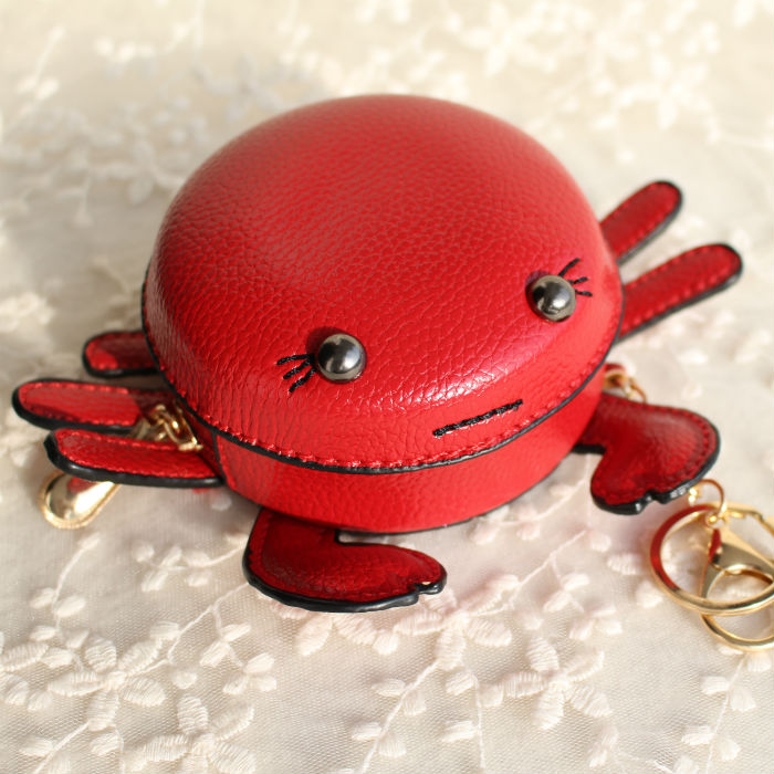 Famous Brand Funny Cute Crab PU Leather Mini Coin Purse Keychain For Keys Small Wallet Key Chain Women Bag Pendant Birthday Gift