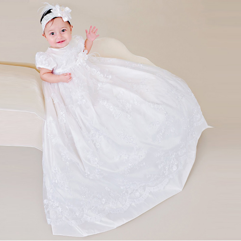 Heirloom style Back Button First Communion Dress Muslin Puffed Sleeves Ruffled Lace Overlay Rosette Christening Gowns for Babies