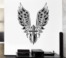 Wall Sticker Cross Angel Wings Art Vinyl Mural Home Decorative Free Swing Design Wallpaper Y-817