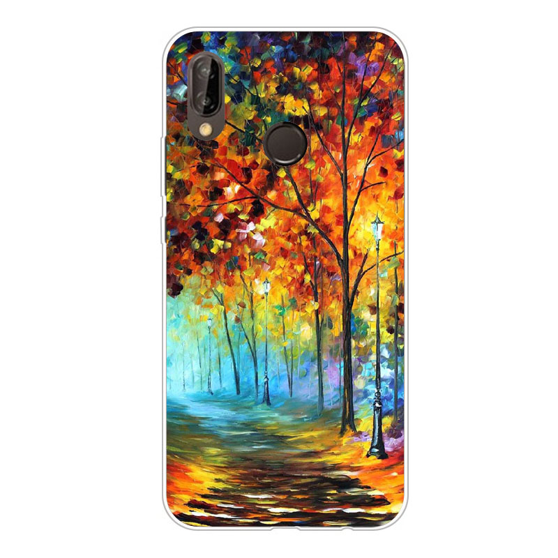 huawei p20 lite Case,Silicon Vivid flowers Painting Soft TPU Back Cover for huawei p20 lite Phone protect Bags shell