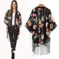 Этническая Цветочные Кисти Свободные Кимоно Кардиган Куртки Топы Женщины Vintage США открыть стежка