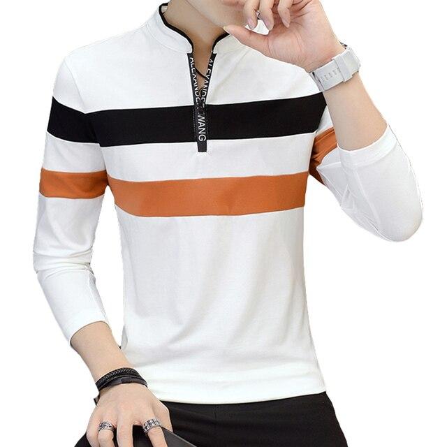 50c41d59d Long Sleeve Color Block Men Polo Shirts Slim Fit Striped Polo Shirt Homme  Casual Base Tops Hip Hop Blouses Streetwear 5P005