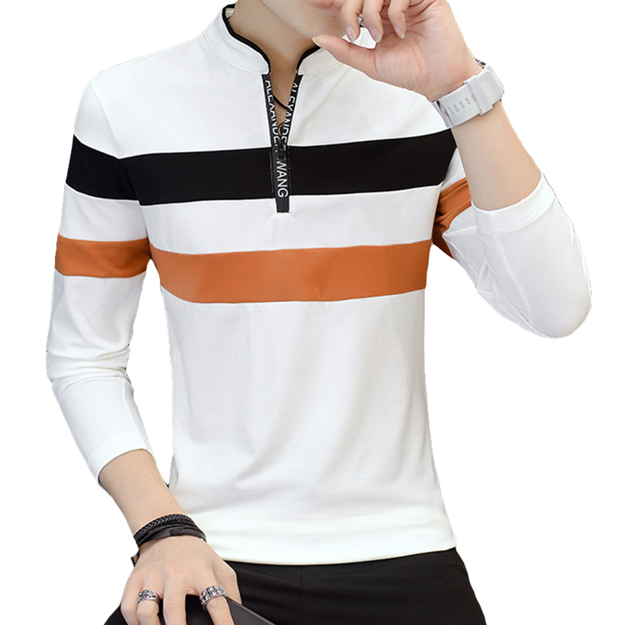 Long Sleeve Color Block Men   Polo   Shirts Slim Fit Striped   Polo   Shirt Homme Casual Base Tops Hip Hop Blouses Streetwear 5P005