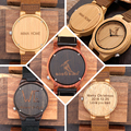 Personality Creative Design Logo MESSAGE Engraved Carved Wooden Watch Customization Items No Product