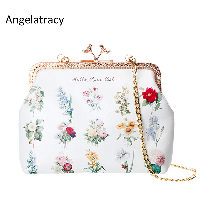 Angelatracy 2018 White Floral Mini Metal Frame Clutch Bag Clutch Vintage Flowers Purse Metal Frame Purse PU Leather Frame Bags