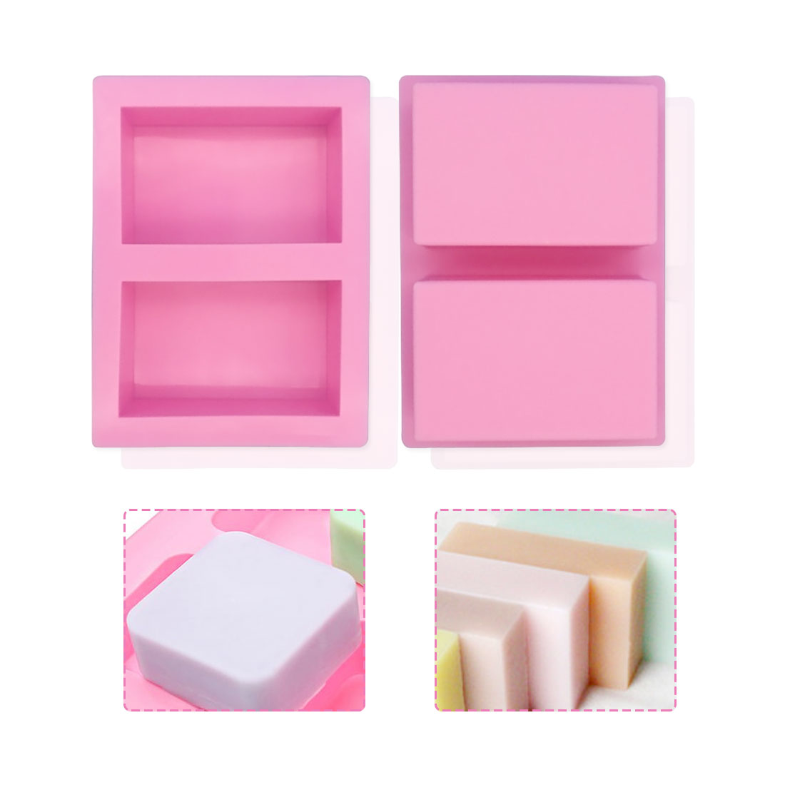 Purple Rectangle Silicone Mold Tree Shaped Hole Square Soap Mold Arts And Crafts Chocolate Cake Molding Hand Making Tools