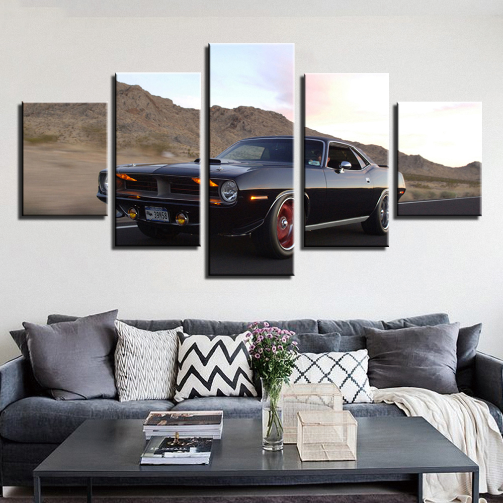 5 Pieces Canvas muscle car Painting modular pictures movie canvas dropshipping Modular poster CU-582