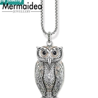 Big Owl Pendant Champagne coloured Zirconia Link Chain Necklaces Trendy Style Cool Silver Fashion Jewelry Women Gift Collier
