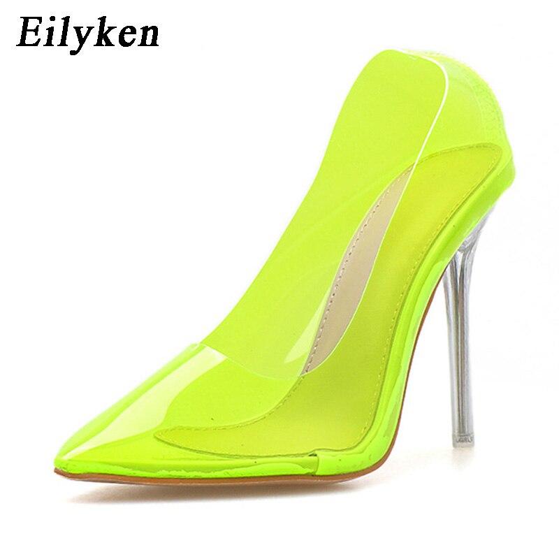 62e00a39a20b Eilyken/флуоресцентные зеленые туфли-лодочки из ПВХ на прозрачном каблуке с  кристаллами; Клубные вечерние туфли-лодочки; женская обувь на высо.