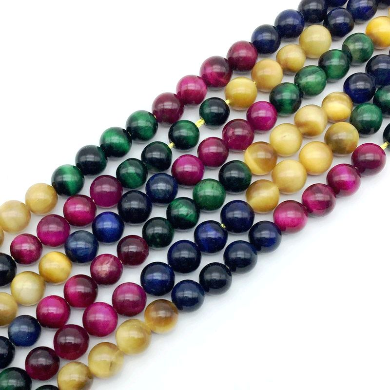 Natural Dyed Color Tiger Eye Stone Bead Mixed String Round 4mm 6 mm 8 10mm 12 Pink Green Blue Gold etc