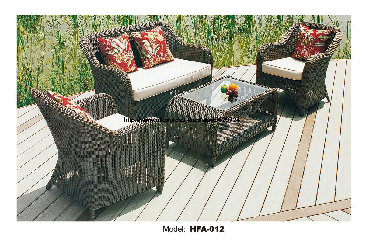 Outdoor Patio Furniture Sofa Table Ottoman Outdoor Table Rattan Sofa Set Garden Rattan Furniture Not hammock Beanbag HFA012 circular arc sofa half round furniture healthy pe rattan garden furniture sofa set luxury garden outdoor furniture sofas hfa086