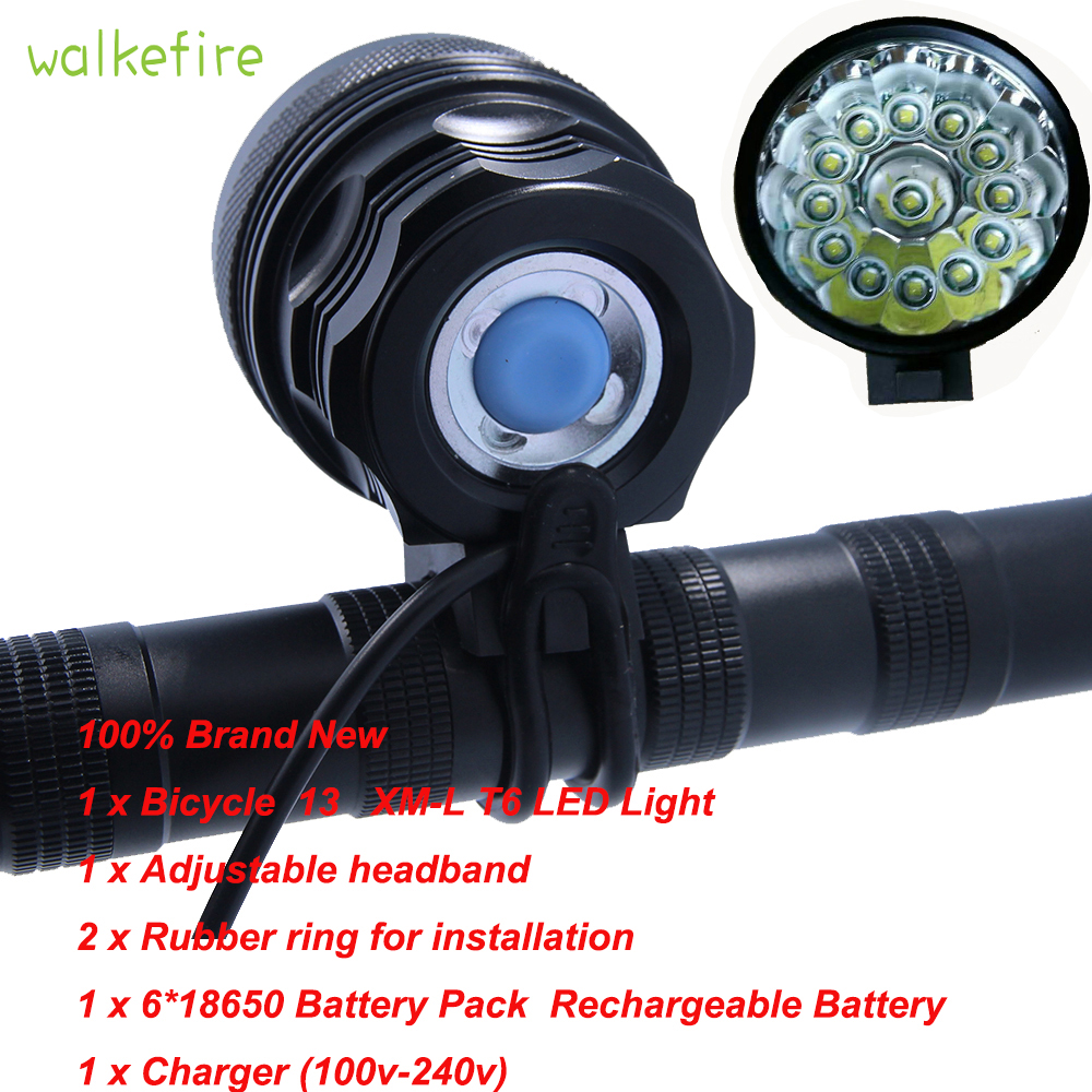 Walkifre High Lumens 3 Colors 13 x XML T6 LED Rechargeable Bicycle Light Cycling HeadLight Bike Headlamp + 6x18650 Battery Pack