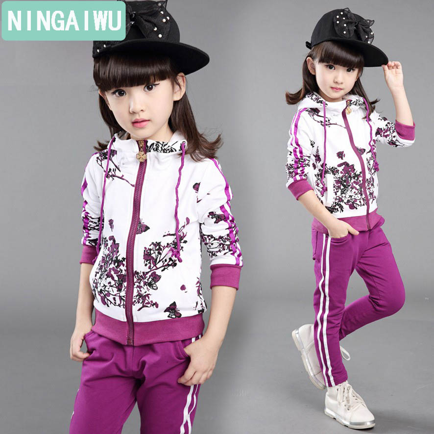 Children with girls sets spring and autumn kids long sleeves sport suit brand baby girls clothing floral jacket + pants twinset