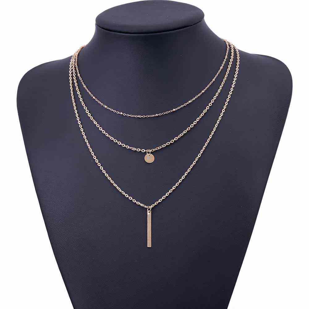 2019 nouvelles femmes mode or couleur 3 couches chaîne collier évider Triangle Long pendentif colliers bijoux bijoux cadeau