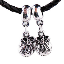 New Silver Plated Bead Charm Vintage Christmas Bow Purse Wallet Pendant Beads Fit Pandora Bracelet Bangle DIY Jewelry HKA0672
