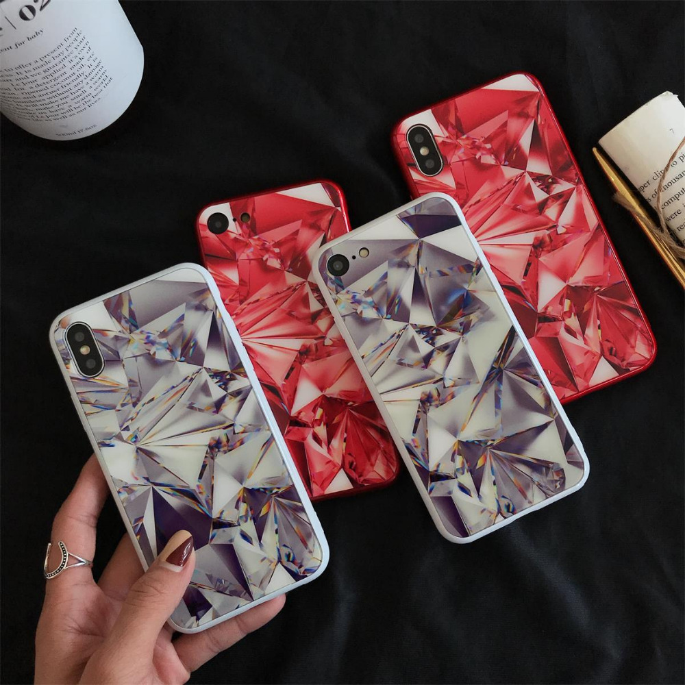 Crystal Diamond Design Phone Case for iPhone X 8 7 Plus Fashion Transparent Hard Phone Cases Cover for iPhone 6 6S Plus