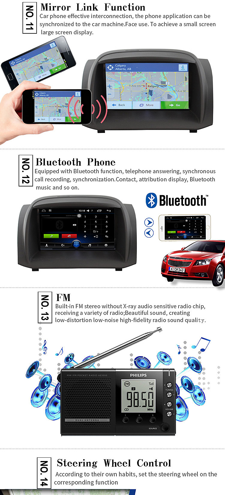 JDASTON 7 Inch 2 Din Quad Core 1G+16G Android 6.0 Car DVD Player GPS Navigation For Ford Fiesta Multimedia Radio Canbus SWC USB