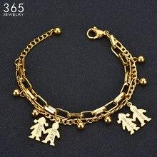 Pulsera de acero inoxidable para niños y niñas, brazalete de Color dorado ajustable con nombre, joyería de personalidad