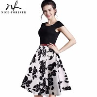 Nice Forever New Summer Casual Stylish Elegant Print Charming Women O Neck Short Sleeve Zipper Work