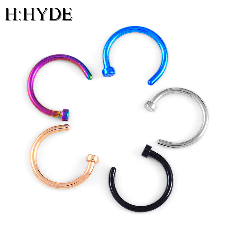 H:HYDE Fashion Fake Septum Medical Titanium Nose Ring Piercing Body Clip Hoop For Women Girls Septum Clip Hoop Jewelry DY