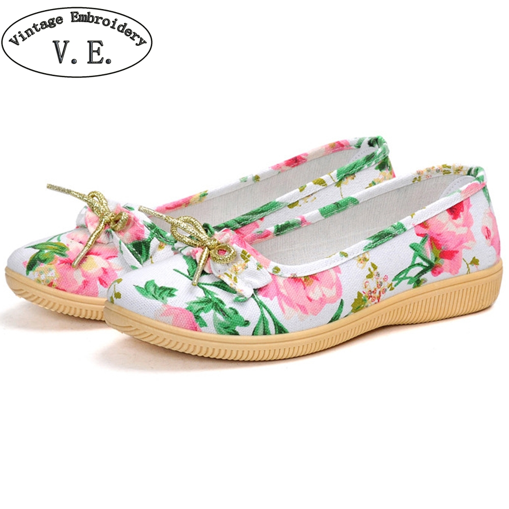 Vintage Embroidery Women's Spring Flats Ladies Flower Print Butterfly-knot Ballets Flats Casual Canvas Shoes Woman