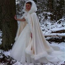 Шампанское Свадебный плащ зима с капюшоном искусственного меховая отделка атласная Свадебная накидка шаль манто