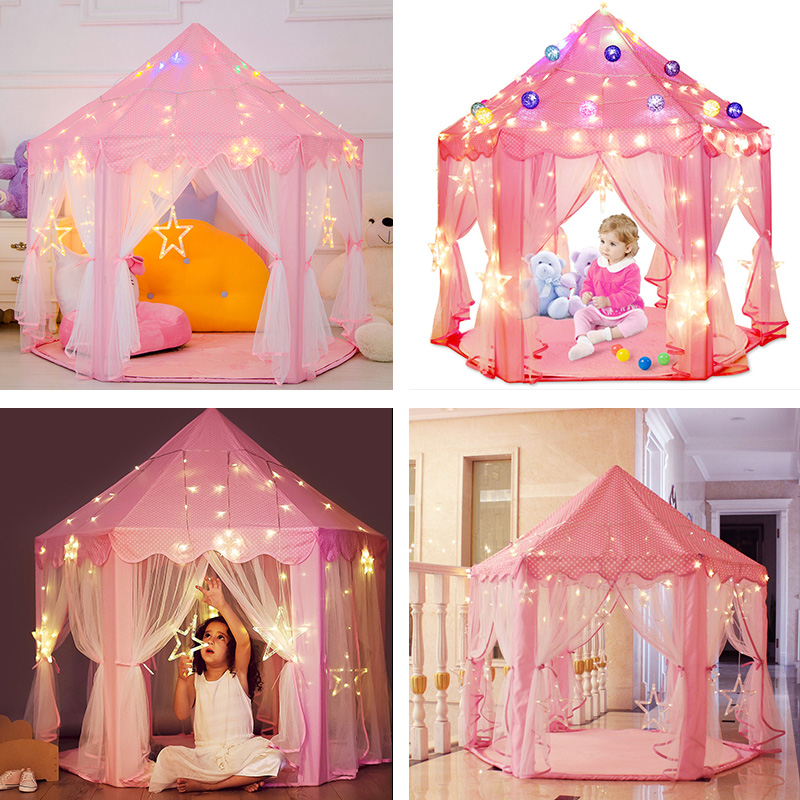 Girl Princess Pink Castle Tents Portable Children Outdoor Garden Folding Play Tent Lodge Kids Ball Pool Indoor Outdoor Playhouse