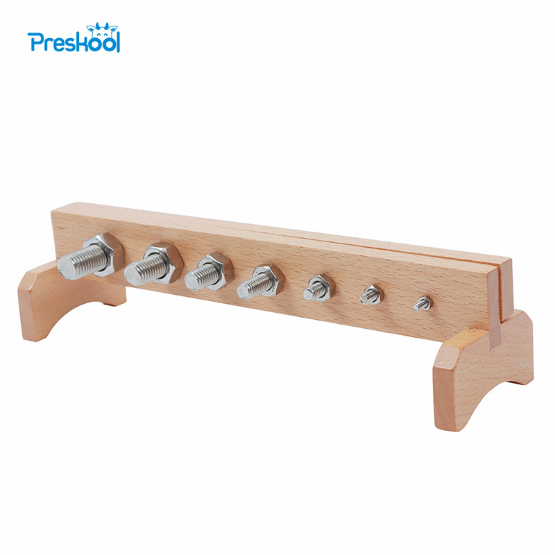 Montessori Kids font b Toy b font Baby Wood Screw Bolts and Nuts Learning Educational Preschool